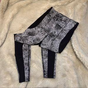Lululemon black and white floral leggings